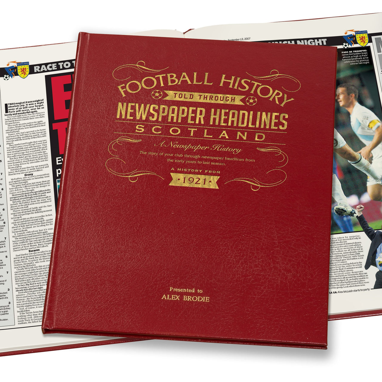 Scotland Football Newspaper Book Leather Red Cover