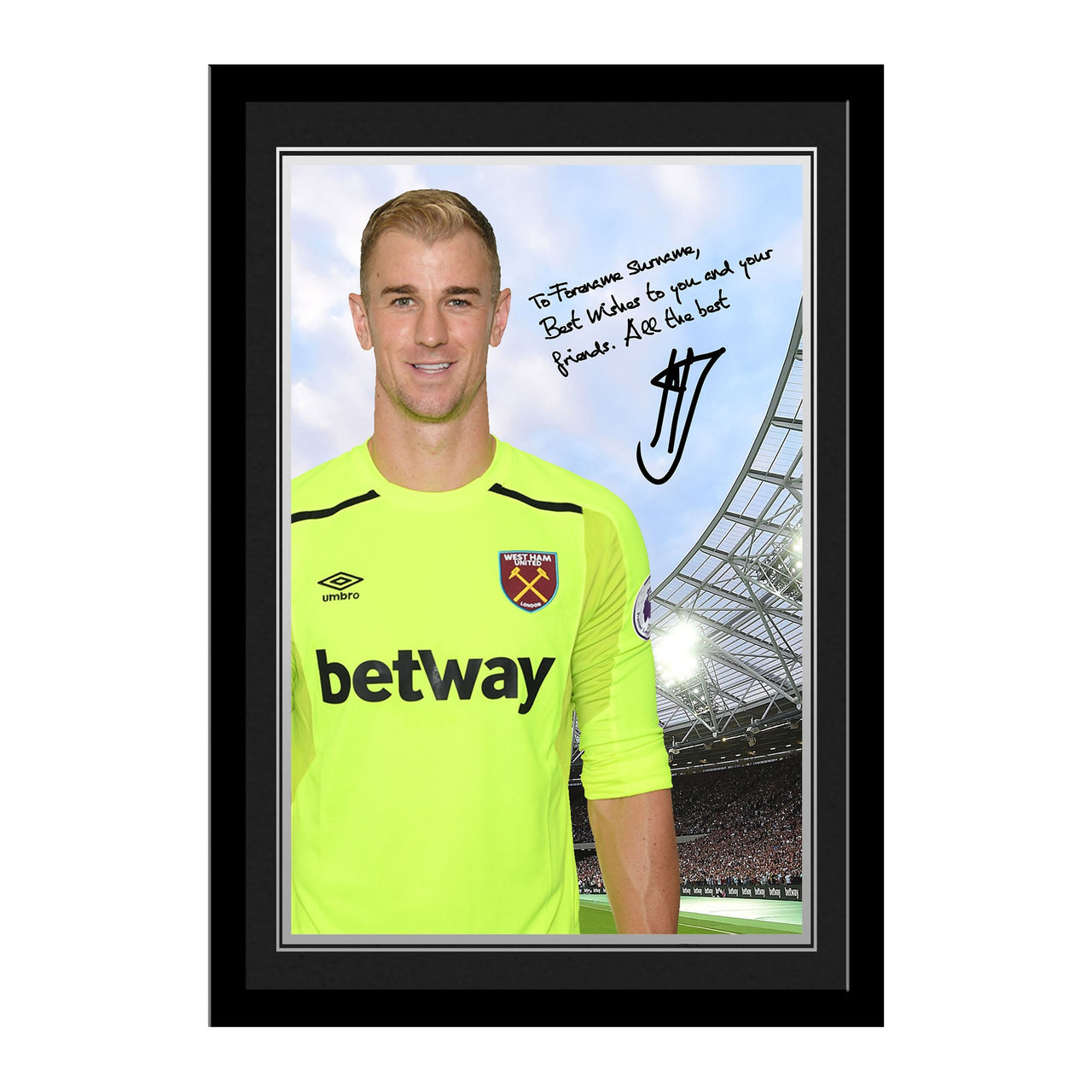 West Ham United FC Hart Autograph Photo Framed