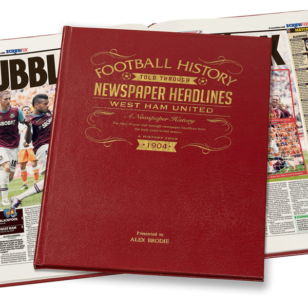 West Ham Newspaper Book - Leather Red Cover