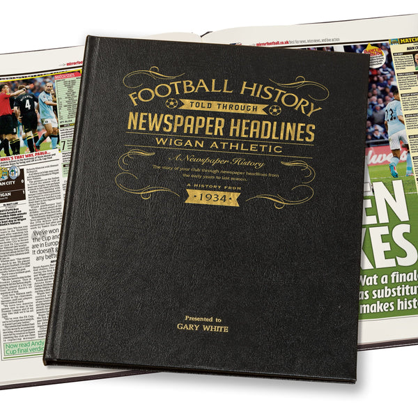 Wigan Athletic Newspaper Book - Leather Black Cover
