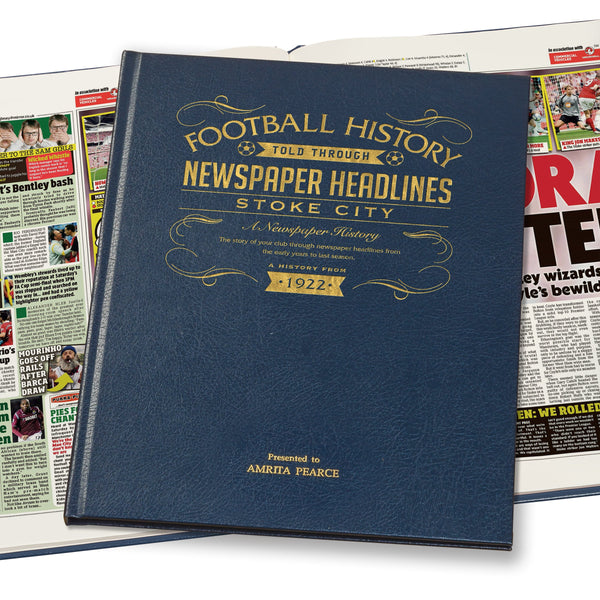 Stoke City Newspaper Book - Leather Blue Cover