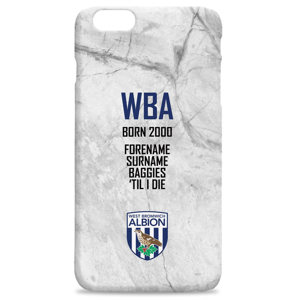West Bromwich Albion FC 'Til I Die Hard Back Phone Case, Gifts