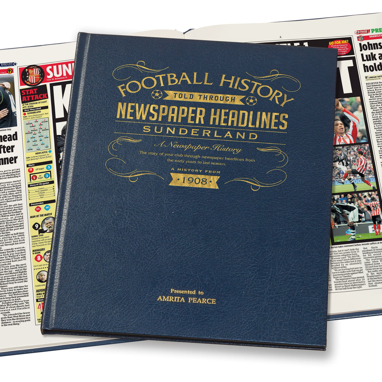 Sunderland Newspaper Book - Leather Blue Cover