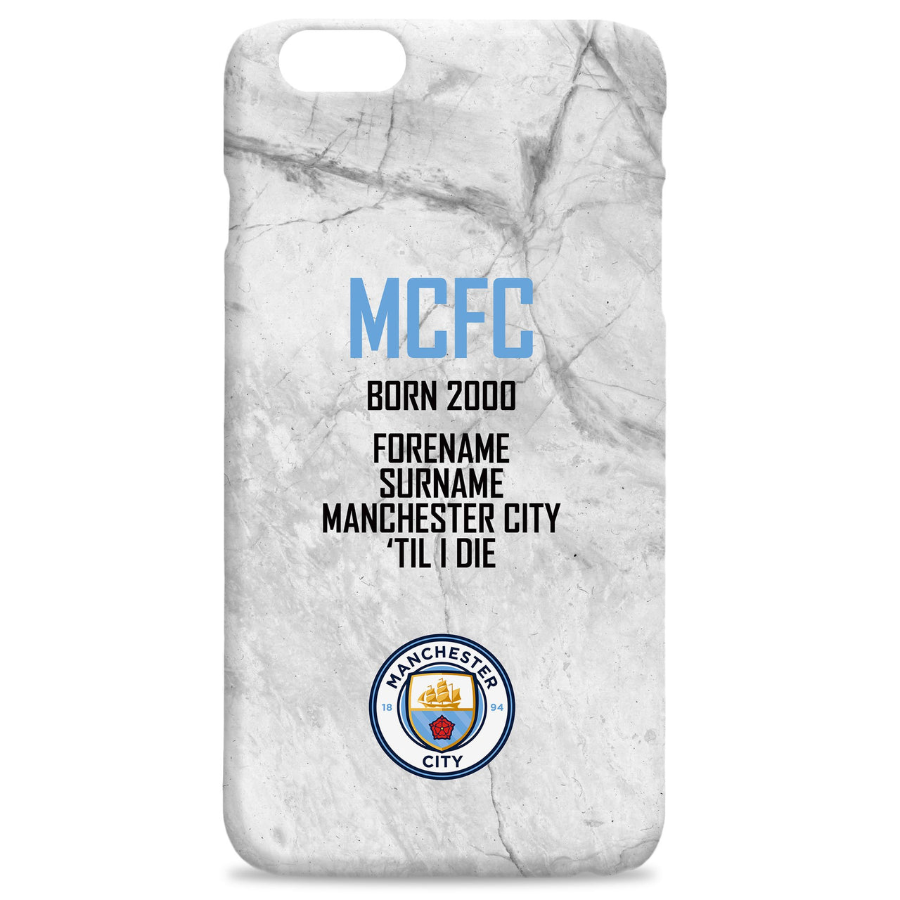 Manchester City FC 'Til I Die Hard Back Phone Case, Gifts