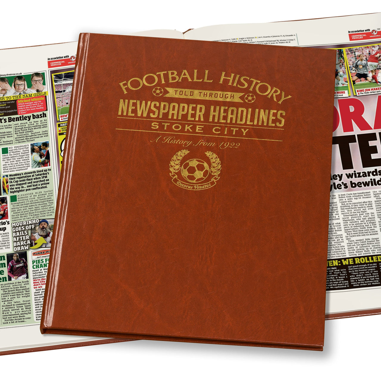 Stoke City Newspaper Book - Brown Leatherette (Colour Pages)