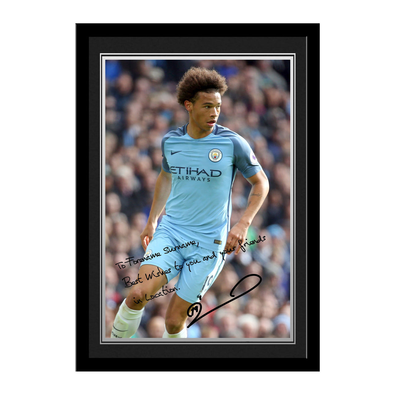 Manchester City FC Sane Autograph Photo Framed