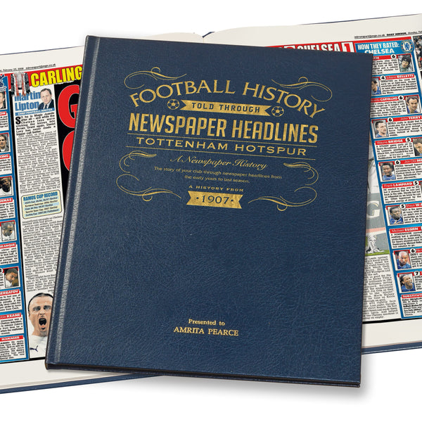 Tottenham Hotspur Newspaper Book - Leather Blue Cover