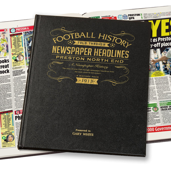 Preston Newspaper History Book - Leather Black Cover