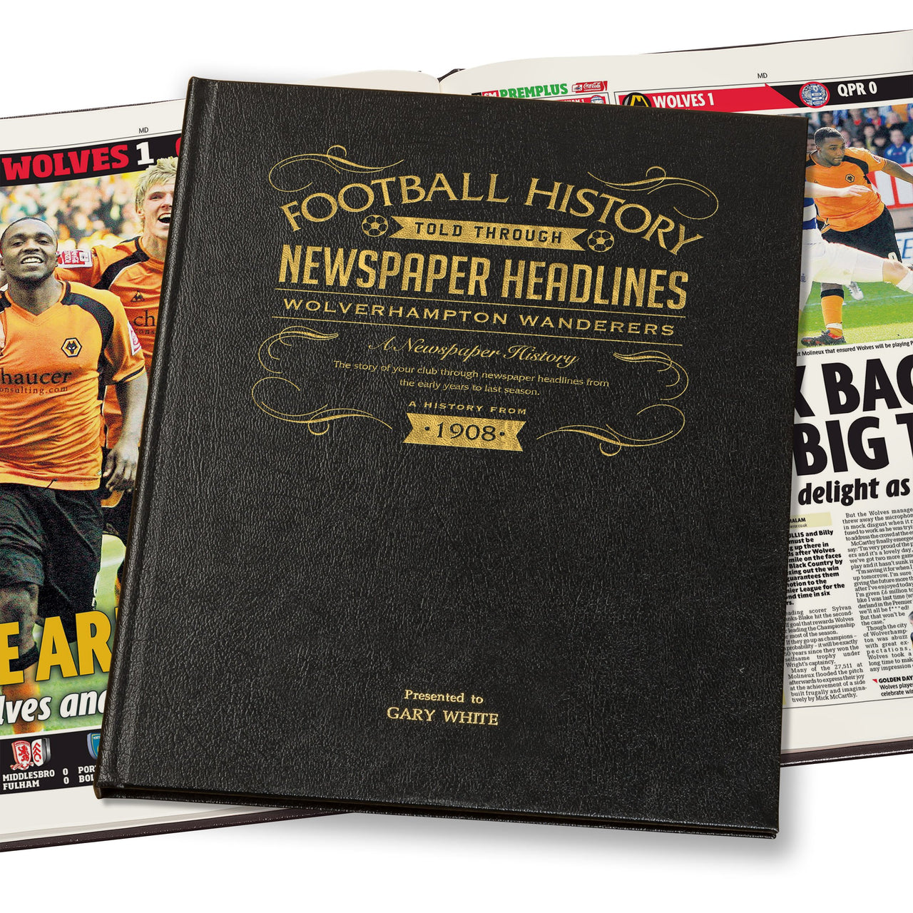 Wolves Newspaper Book - Leather Black Cover