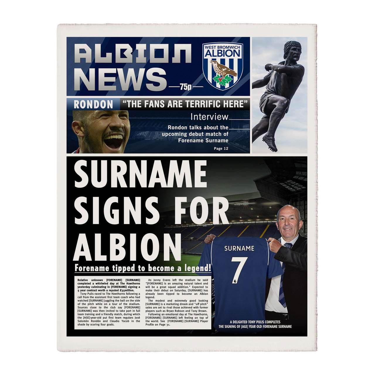 West Bromwich Albion FC News Single Page Print