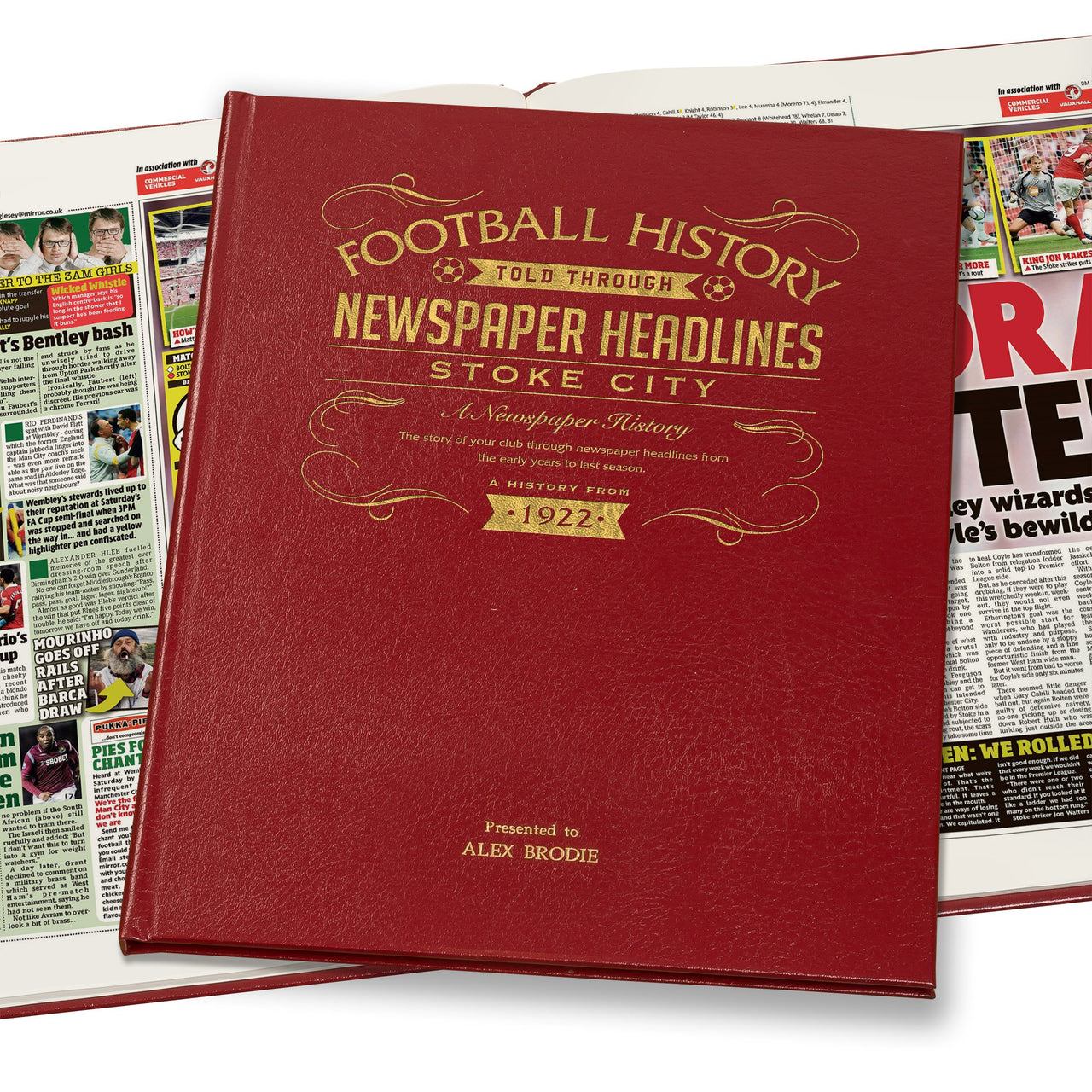 Stoke City Newspaper Book - Leather Red Cover