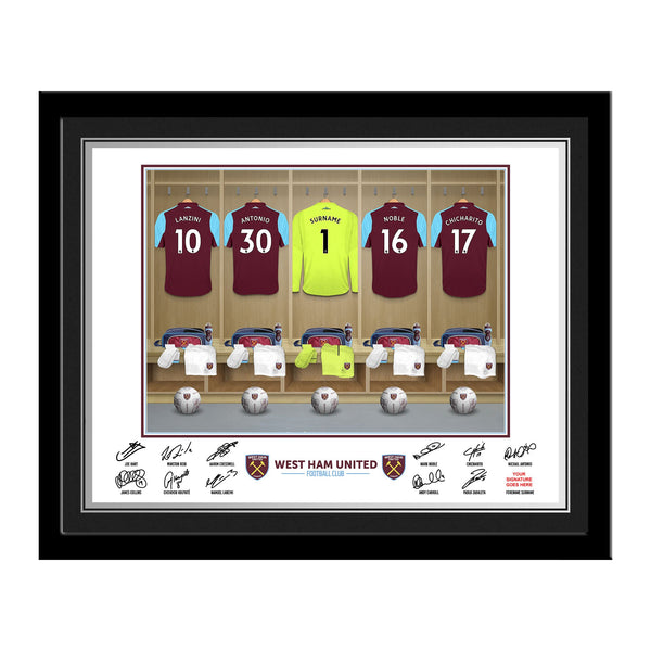 West Ham United Goalkeeper Dressing Room Photo Framed