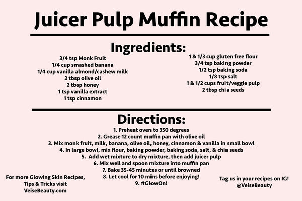 Downloadable Recipe Card - Juicer Pulp Muffins - Gluten Free, Soy Free, Dairy Free, Sugar Free - Veise Beauty