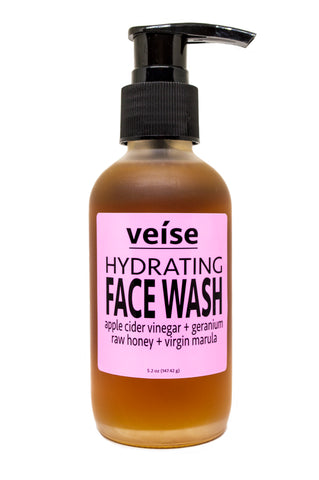 Veise Beauty Hydrating Face Wash with Apple Cider Vinegar, Raw Honey, Marula Oil Face Wash, Geranium Oil - All Natural, Organic