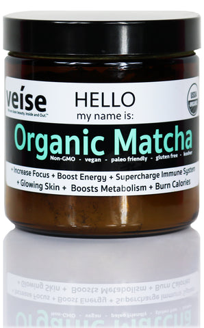 Veise Beauty Organic Matcha for antioxidant health, clear skin, increased metabolism, stronger skin cells