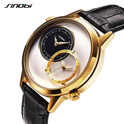 Luxury Gold Multiple Time Zone Leather
