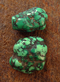 Two Antique Turquoise Beads - 19 mm