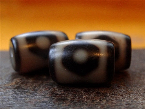 3 x High Quality Barrel Shaped New Three Eyed dZi Beads - 15mm