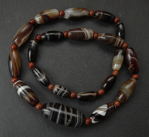 Rare Strand of Banded Agate beads - 20 beads