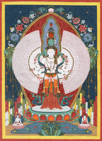 1000 Armed Avalokiteshvara Thangka - Fine Art Thangka Reproduction - by Flera Birmane
