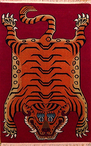 Small Tibetan Tiger Rug - Deep Red Background 3 ft