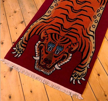 Tibetan Tiger Rug - Deep Red Background 4 ft 10 inches
