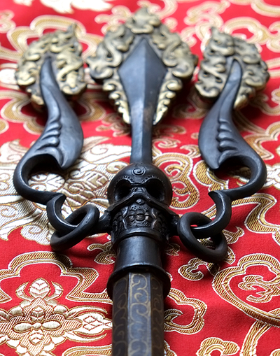 Very Rare Hand Crafted Iron Khatvanga Trident - Antique Finish