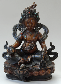 Fine Copper Dzambhala Statue 5.5 inches - Antique Finish