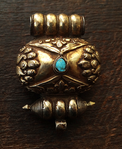 Antique Tibetan Gau Inlaid with Turquoise