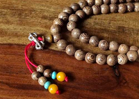 Natural Banded 'Agate Wood' Mala with Dividers - 8mm