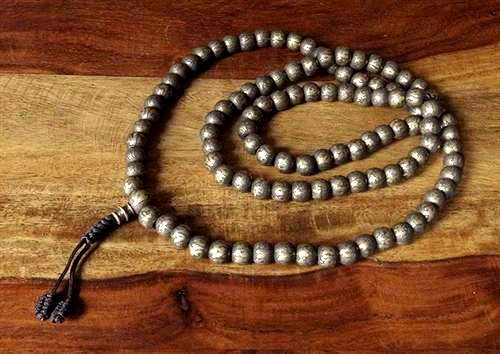 Heavy Brass Mala decorated with Mani Mantra - 9mm