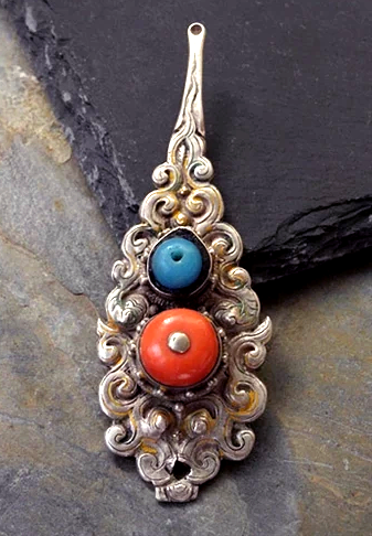 Antique Tibetan Silver & Coral Spoon