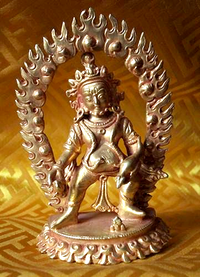 Small Fully Gilded Standing Dzambhala Statue - Gilt Copper
