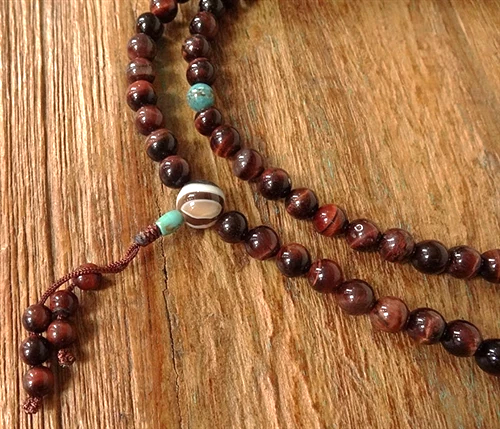 Red Tiger's Eye Mala with Turquoise Dividers