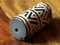 New Mountain Peak Decorated Agate Cylinder Bead - Ancient Replica