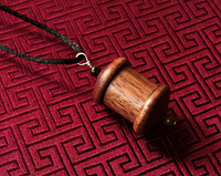 1 Million Mantra - Prayer Wheel Pendant - Hand Crafted from Walnut Wood