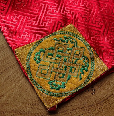 Red Brocade Dharma Text or Pecha Cover - With embroidered Endless Knot