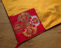 Golden Yellow Brocade Dharma Text Cover - With embroidered Double Vajra