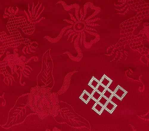 Red Brocade Dharma Text Cover - With embroidered Double Vajra
