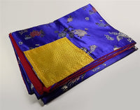 Blue Brocade Dharma Text Cover - Peacock & Flower Design