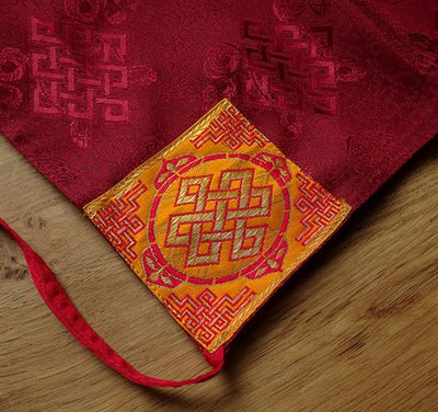 Maroon Brocade Dharma Text or Pecha Cover - With embroidered Endless Knot