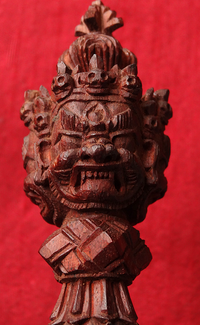 Rare Bhutanese Hand Carved Sandalwood Phurba - 6.75 inches