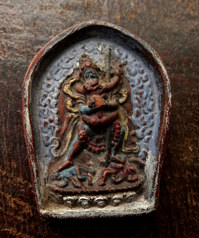 Antique Painted Korlo Demchog (Chakrasamvara) in Union Tsa Tsa