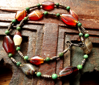 Ancient Tabular Bicone Agate/Carnelian Bead Necklace