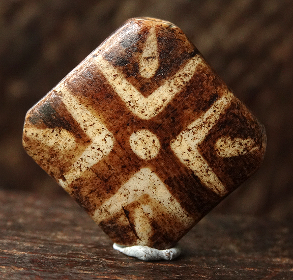 Antique Tabular Pumtek Stone Bead with cross decoration