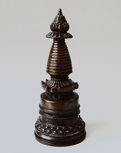 Dark Copper Stupa - 7 inches