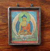 Antique Silver & Copper Gau with Miniature Painting of Shakyamuni Buddha