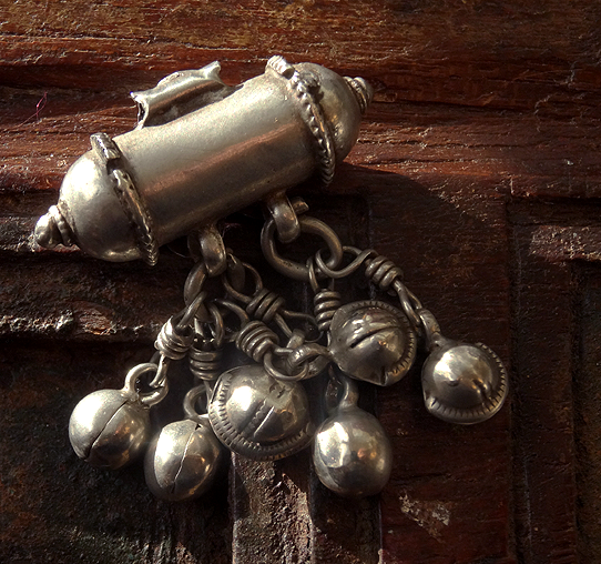Antique Indian Silver Pendant with Bells