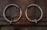 Antique Indian Silver Hoop Earrings