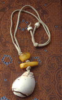 Antique Tibetan Amber & Conch Shell Pendant